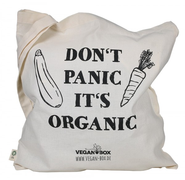 "Vegan Box BIO Jutebeutel ""Dont panic"""